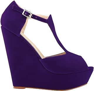 Vimedea Womens Peep Toe Comfort Wedge Heighten T-bar Platform Office OL Lint Sandals