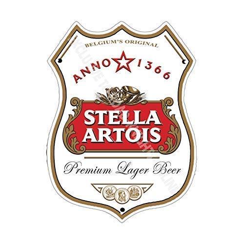 Stella Artois Birra pubblicità Bar Vecchio Pub Bevande Pompa Distintivo Brewery Botte Keg Draught Real Ale Pinta Alcool Luppolo Forma Metallo/Targa Da Parete In Acciaio - 27 x 20 cm