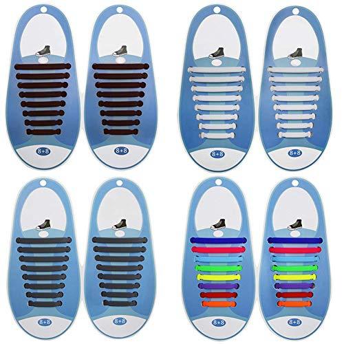 SwirlColor Lacets Elastique Adulte, 4 Types de Lacets Faciles à Nouer No Cravate à Lacets Élastique Pratique Imperméable Attache Rapide Lacets de Chaussure pour Femme Homme 64 pcs