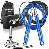PrimaFIT Pro Speed Cuerda Saltar, Comba Crossfit Hombre y Mujer de Alta Velocidad para Boxeo y Fitness - Mango de Aluminio, Autoajustable, Rodamientos de Rápidos, 2 Lastres, Cable de Repuesto, Bolsa