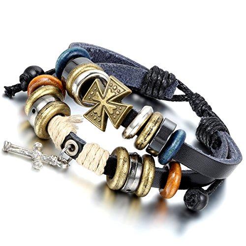 Flongo 手作り 編み ブレスレット 多層 クロス レザー ビーズ メンズ/レディース バングル 腕飾り 男女学生腕輪 ロック