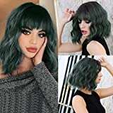 14' Synthetic Short Curly Bob Wigs Pastel Wavy Wig With Air Bangs Black-Mix Green-Green Women's Shoulder Length Wigs Curly Wavy Cosplay Colorful Wigs for Girl (##2610/2)…