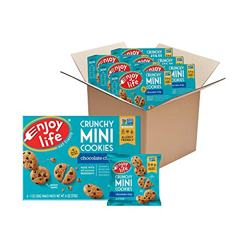 Enjoy Life Foods Crunchy Mini Chocolate Chip Cookies, Nut Free Cookies, Dairy Free, Soy Free, Non GMO Mini Cookies, Vegan Chocolate Chip Cookies, 6 Boxes (6 Snack Packs Each), 1 ounce (pack of 36)