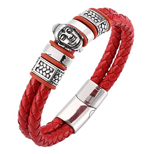J.Memi.Men Buddha head Leather Bracelet Braided Cuff Wristband Stainless Steel Closure Unique pattern design Jewelry Thanksgiving Halloween, Red,18.5cm