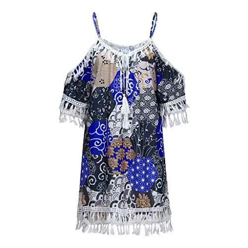COZOCO Vestido De Mujer De Vestidos Largos Verano Mujer Informal Vintage con Lunares De Muselina De Corta con Botones Y Corbata A Lunares Color Liso(Azul,EU-40/CN-XL)