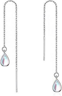 OwMell 925 Sterling Silver Drop Earrings Colorful Droplet Dangle Threader Earrings For Women Gold Plated
