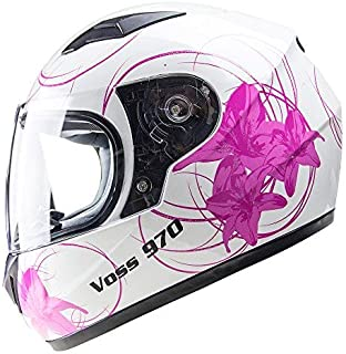 Voss 970Y Youth/Kids Full Face Helmet. Pink Lily Graphic. DOT - M - Gloss White Lily