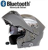 a3jdeiu3 Casque de Moto Flip Casque modulaire Route Certifié Casque Bluetooth Réponse Automatique Intégré HD Microphone Double Haut Parleur