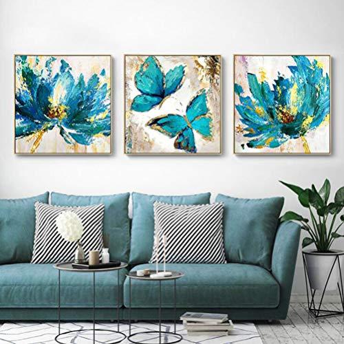 Pittura Acrilica 3 Pezzi Di Decorazione Soggiorno, Dipinti a Mano su Tela 100%, Arte Della Parete Farfalla Blu,A,28' x 28' (70cm x 70cm)