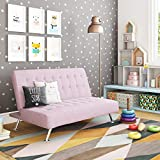 DHP Ariana Kids Sofa Futon, Converts from Futon to Bed for Kids, Lilac