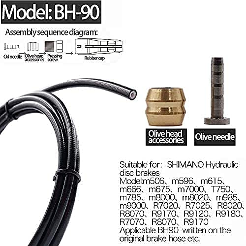 FOMTOR 2500mm Bicycle Hydraulic Disc Brake Hose Kit Mountain Bike Brake Hose Hydraulic Disc Brake Oil Tube with 8 Brass Olives and 8 Brass Inserts for BH59/ BH90 MTB Bike Brake(Black)