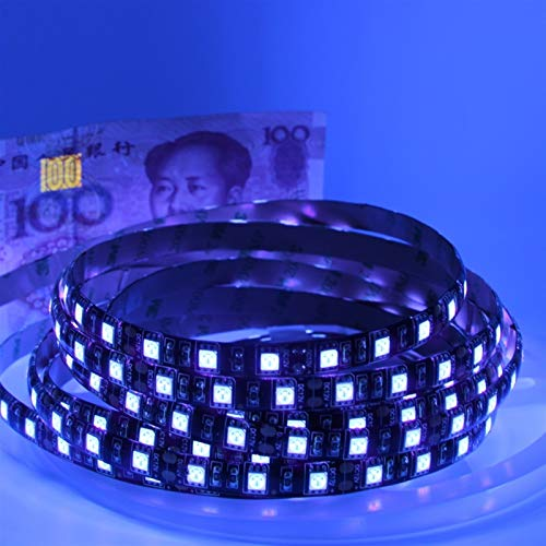 AMNVBD LED LED UV Light 5050 SMD 60LEDS / M 395-405NMUV Línea diodo LED con lámpara Flexible púrpura para la Fluorescencia DJ (Color : 5m 300leds, Emitting Color : Ip65 Waterproof)