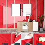 johgee 5M * 61CM Papier Adhésif pour Meuble Rouge en PVC Cuisine Film Adhésif Mural, Paillettes sur la Surface, Papier Autocollant Imperméable, Stickers Meuble Décoration pour Chambre Salon