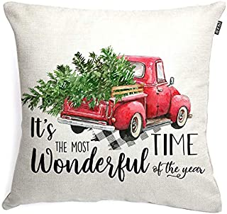 axsl Christmas Tree with Red Truck Throw Pillow Cover Christmas Decor Throw Pillow Cover Autumn Decor Cuhion Cover Case for Couch Sofa Home Decoration Fall Pillows Linen 18 X 18 Inches