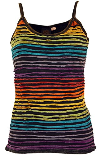 Guru-Shop Stonewash Goa Top, Boho Style Hippie Top, Damen, Regenbogen 13, Baumwolle, Size:S/M (36), Tops & T-Shirts Alternative Bekleidung