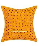 Royal Furnish Handmade Yellow Mirror Embroidered Cushion Cover Decorative Bohemian Throw Pillow Handmade Boho Sofa Pillow Embroidered Mirror Throw Cushions (16x16 Inch, Yellow-Multi)