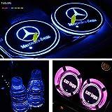 Luz LED portavasos Titular luminosa Posavasos Copa de las luces del coche de 7 colores Coaster inteligente luminosa Agua cambio de alfombra USB for automóviles de Mercedes Benz