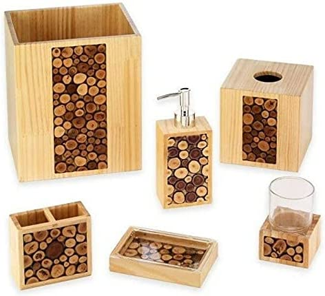 Selling and selling Wood Challenge the lowest price of Japan 6 Piece Basket Bath Accessory Set Decor A Bathroom
