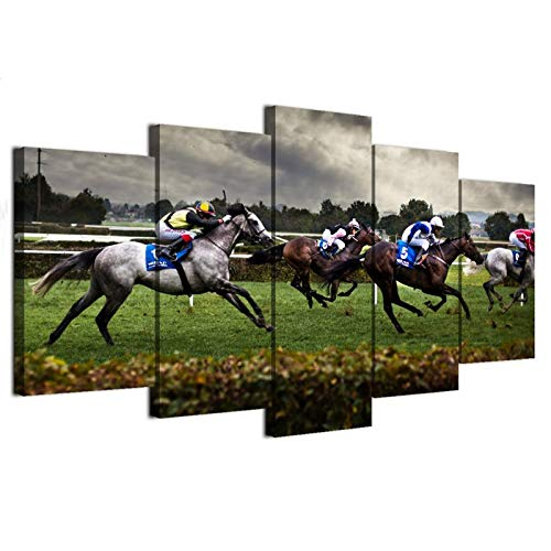 Horse Racing Painting Canvas Wall Art Decor Kentucky Derby Race Horse Rider Sport Jockeys Derby Competition Recreation Track Bet Win Photo Picture 5 Panel Print Wall Art (16x24x2,16x32inx2,16x40inx1)