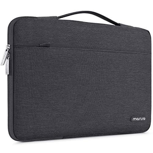 MOSISO 360 Schutz Laptop Aktentasche Handtasche Kompatibel mit 13-13,3 Zoll MacBook Pro, MacBook Air, Notebook Computer, Polyester Stoßfeste Tasche mit Trolley Gürtel, Space Grau