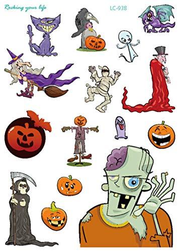 SGAHEIWI 10 Unids Halloween Maquillaje Tatuaje Cosplay Fiesta Pegatina Payaso Tatouage Zombie Tatuajes Impermeable Tatuaje Falso Brujas Cuerpo Taty, d
