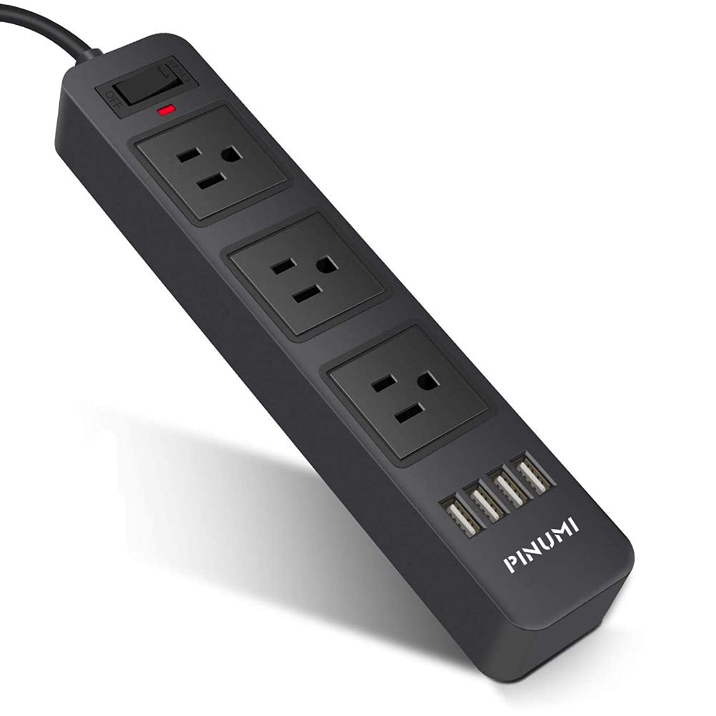 Power Strip with 3 -Outlet and 4USB Charing Ports .Home/Office Surge Protector with 6.6ft Extension Cord for Smartphone and Tablets