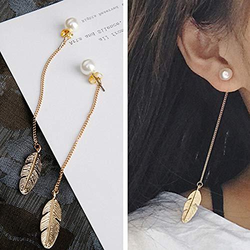 N/A Pendientes Colgantes de Borla de Plumas largas para Mujer Pendientes Colgantes de Perlas de imitación de Borla Larga