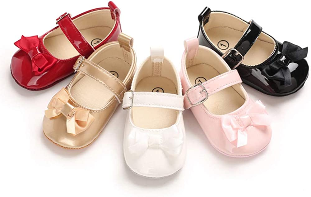 YiQiJeJe Newborn Baby Girls Infant Toddler Mary Jane Anti-Slip Princess Dress Shoes - Ballet Flats for Girl Wedding Birthday Party First Walker Shoes