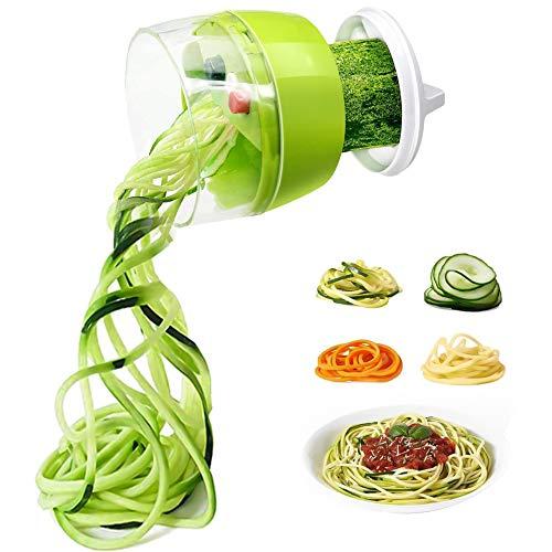 Cortador Verduras Espiral 4 en 1, Rallador de Verduras, Cortador de Fideos Vegetales, Cortador en Espiral Manual para Zanahoria, Pepino, Patata, Calabacín (Verde)