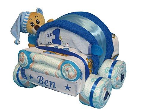 Windeltorte kleines Windelauto mit Kuschelbärchen blau
