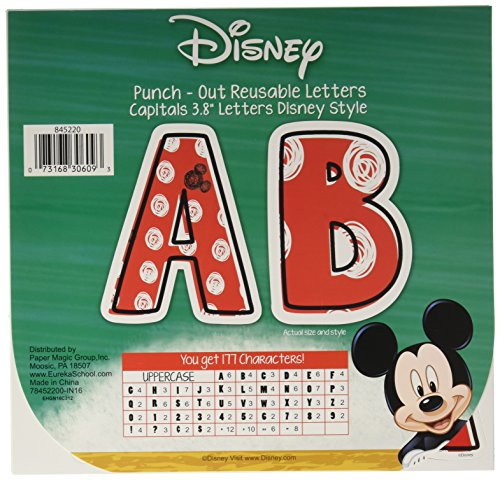 Eureka Disney Mickey Mouse Red and White Punch Out Letter Classroom Decoration, 177 pc, 3.8'' H
