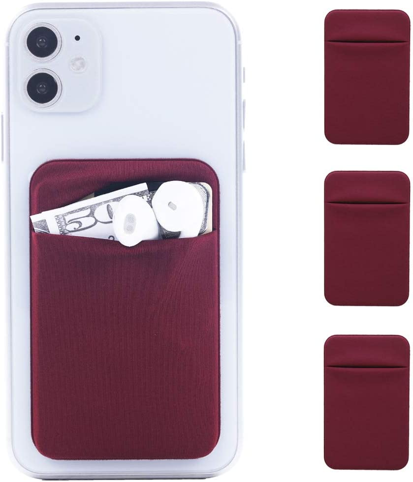 3Pack Cell Phone Card Holder Pocket Sticker Stretchy Lycra for Back of Phone with Flap Credit/ID Card Sleeve Adhesive Stick on Wallet for iPhone,Android All Smartphones (WineRed)