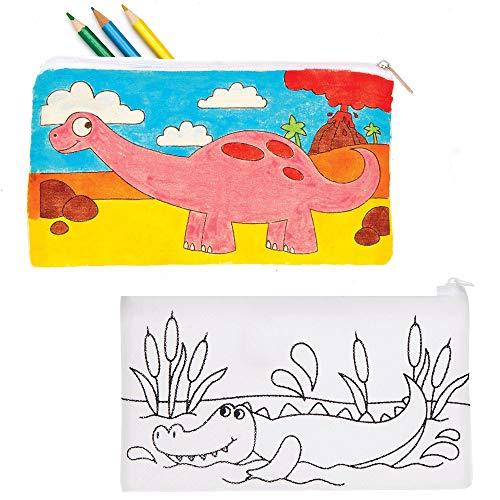 Baker Ross AT678 Inkleurbare Dinosaurus Etuis van Stof (4 stuks) Knutselspullen en Knutselsets voor Kinderen