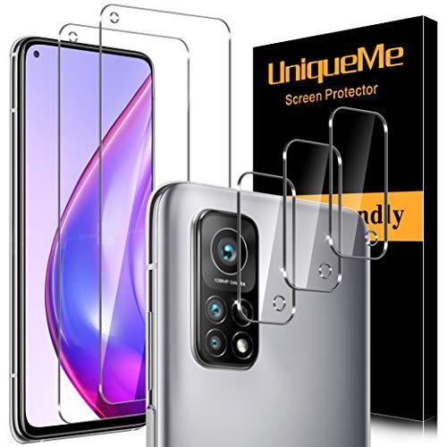[2+3 Stück] UniqueMe 2 Stück Schutzfolie Kompatibel mit Xiaomi Mi 10T Pro 5G und 3 Stück Panzerglas Kamera Schutz, [9H-Härte] [Anti-Bläschen] [Anti-Kratzen] HD klar Folie gehärtetes Glas Displayschutz