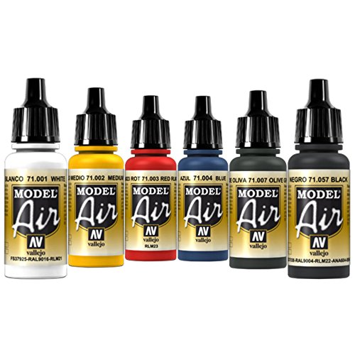 Airbrush Farben 6 x 17 ml Vallejo Model Air Basis Farben-Set Airbrushfarben
