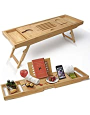 ELITE CREATIONS Bathtub Caddy & Laptop Bed Desk - 2 In 1 Innovative Design Transforms Our 100% Bamboo Bathtub Tray To Bed Tray - For The Ultimate Pampering Experience