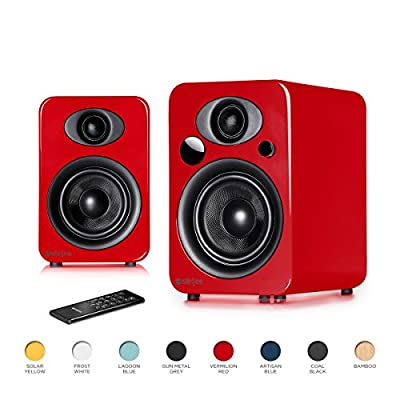 Steljes NS3 Powered Loud Speakers Bookshelf Speakers Stereo System 45W RMS 60Hz to 20kHz British Design Connect RCA, 3.5mm Stereo, Optical, Bluetooth, with Built-in Subwoofer USB Charge (Bamboo). by Steljes