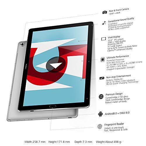 HUAWEI MediaPad M5 Wi-Fi Tablette Tactile 10.8″ Gris (32Go, 4Go de RAM, Android 8.0, Bluetooth)