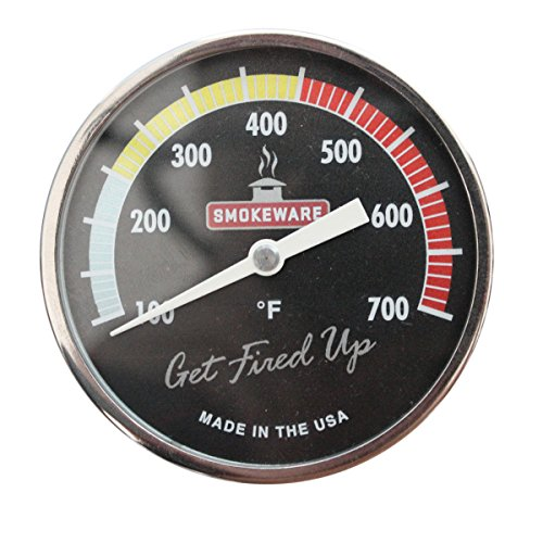 SmokeWare Temperature Gauge – 3-inch Face, 0-700°F Range, Multi-Color Black, Replacement Thermometer for Big Green Egg Grills, Made in The USA
