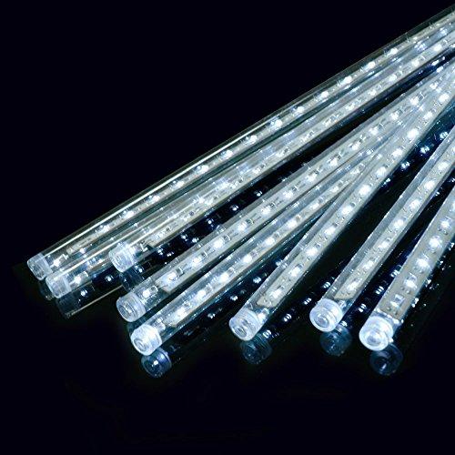 Ecloud Shop® 50cm LED Lumière Météor Douche Pluie Lumières de Pluie pour Noël Mariage Arbre Partie Mall Décoration Un Set 8 Tube (Blanc)