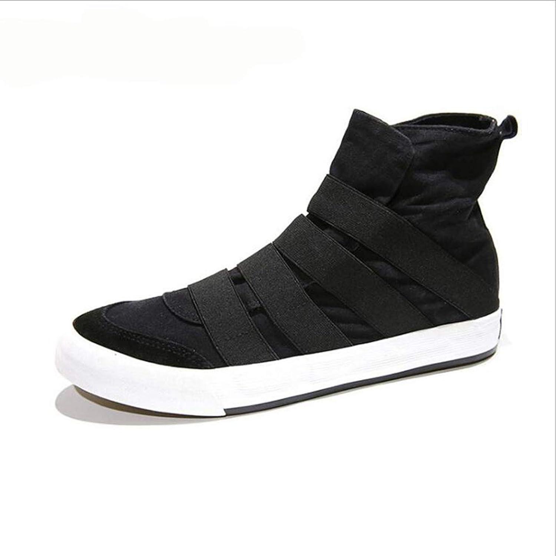 ZHRUI Men Canvas shoes High Top Slip On Casual Flats Male Espadrilles Outdoor Trainers (color   Black, Size   8=42 EU)