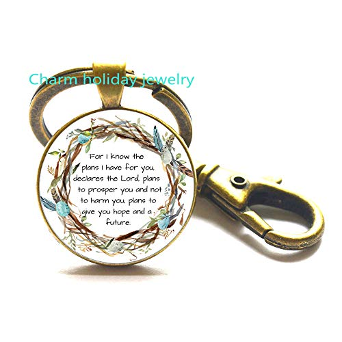 Scripture Keychain,for I Know The Plans I Have for You Keychain,Scripture Gift,Scripture Charm,Jeremiah 29 11 Keychain,Bible Verse Gift-#394