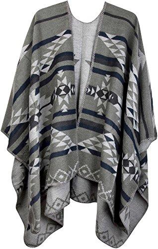 styleBREAKER Poncho mit Azteken Muster, Umhang, Überwurf Cape, Wendeponcho, Damen 08010012, Farbe:Grau