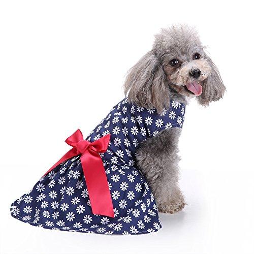 Modow bloemenpatroon huisdier hond jurk vest zomerjurk bloemen rok met roze strik, schattige puppy kleding voor kleine en middelgrote honden en katten.