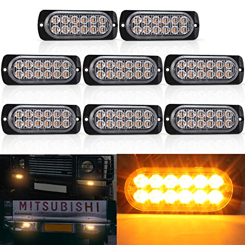 Biqing 8PCS Luces Estroboscopicas,12LEDs Luces Estroboscópicas de Ámbar Luz de Emergencia Luces de Advertencia 12V/24V Parachoques Parrilla Cola Cola Luz de trabajo para Camión Remolque Caravana