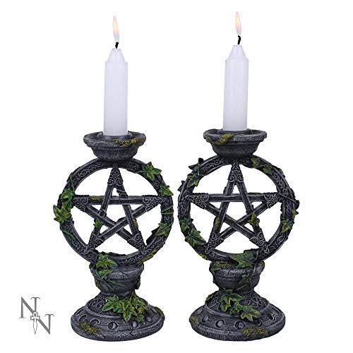 Nemesis Now Wiccan Pentagramm-Kerzenhalter, Kunstharz, 15 cm, Schwarz, 2 Stück