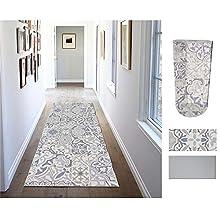 Comercial Candela Alfombra de Pasillo de Textil Resinado Antimanchas, Lavable | Base PVC Antideslizante y Aislante Diseño Mosaico Baldosas (52_x_250 CM)