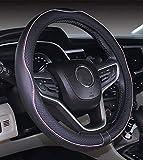 ISTN Cubierta de Volante de Cuero de Microfibra 38 cm para la mayoría de los Autos (Rosa Negro)