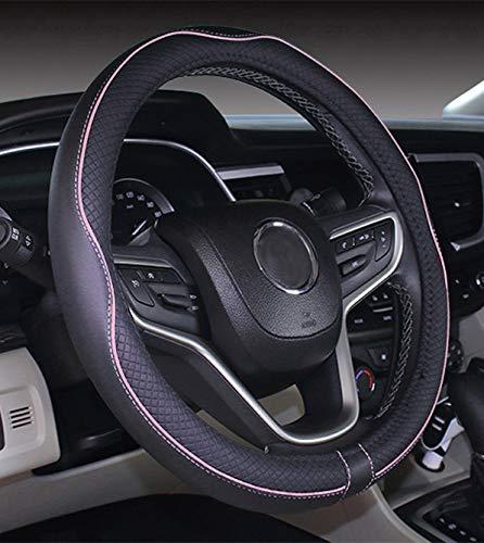 Istn Mikrofaser Leder Auto Lenkradbezug 38cm für die meisten Autos (Black Pink)