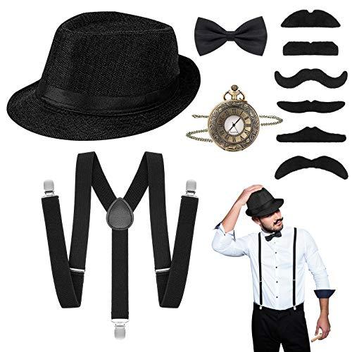 Riclahor 20er Jahre Herren Accessoires - Hosenträger Kostüm Herren Set, Hut, Halsschleife Taschenuhr, Schnurrbart, Rockabilly Herren, Ideal für Partys
